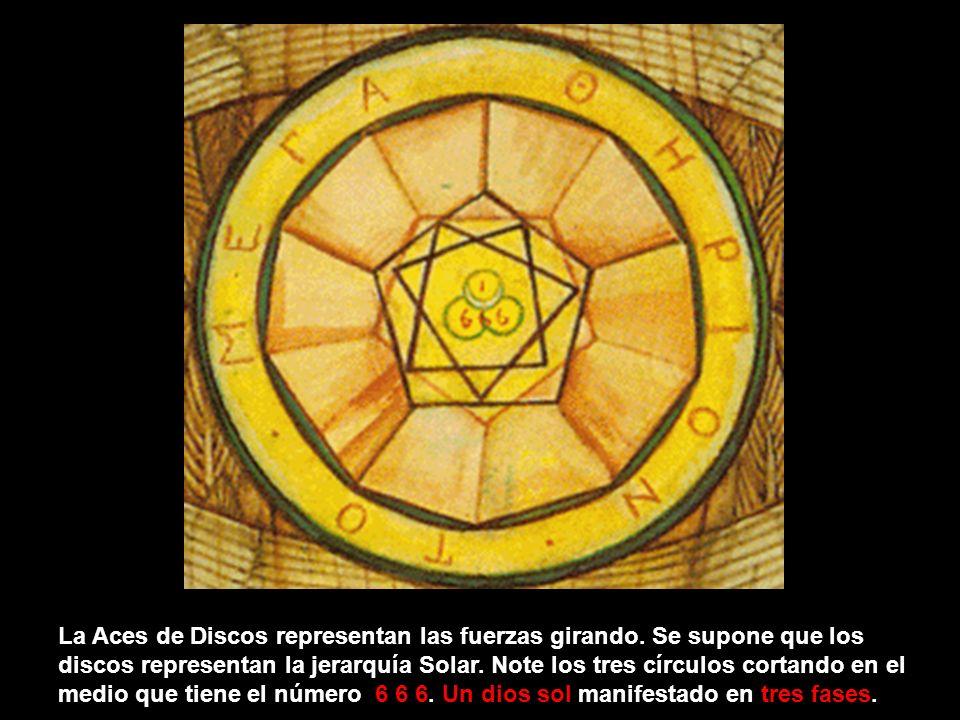 La Aces de Cupas, Hierophant, y Aces de Diskos todas vienen de las cartas del Tarot por Aleister Crowley. Fíjate en los tres círculos intersectados en