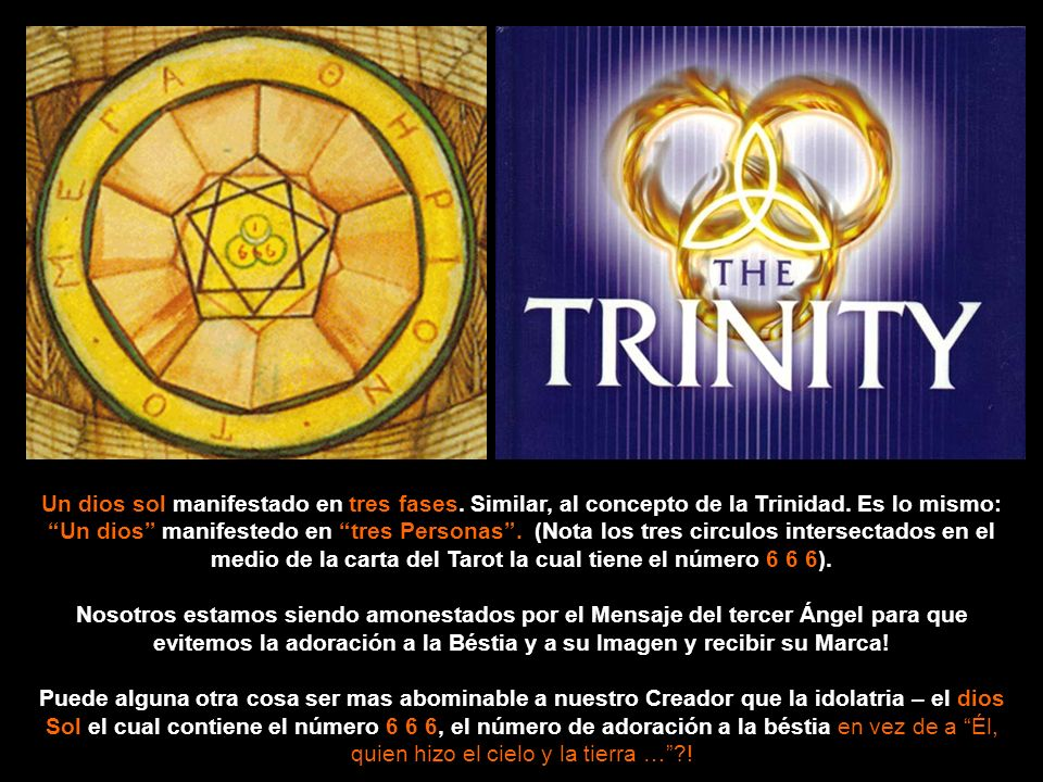 El Ace de Cups, Hierophant, y Ace de Disks todos vienen del juego o set Tarot cards por Aleister Crowley, un conocido Satanita y mago, e ilustrado por