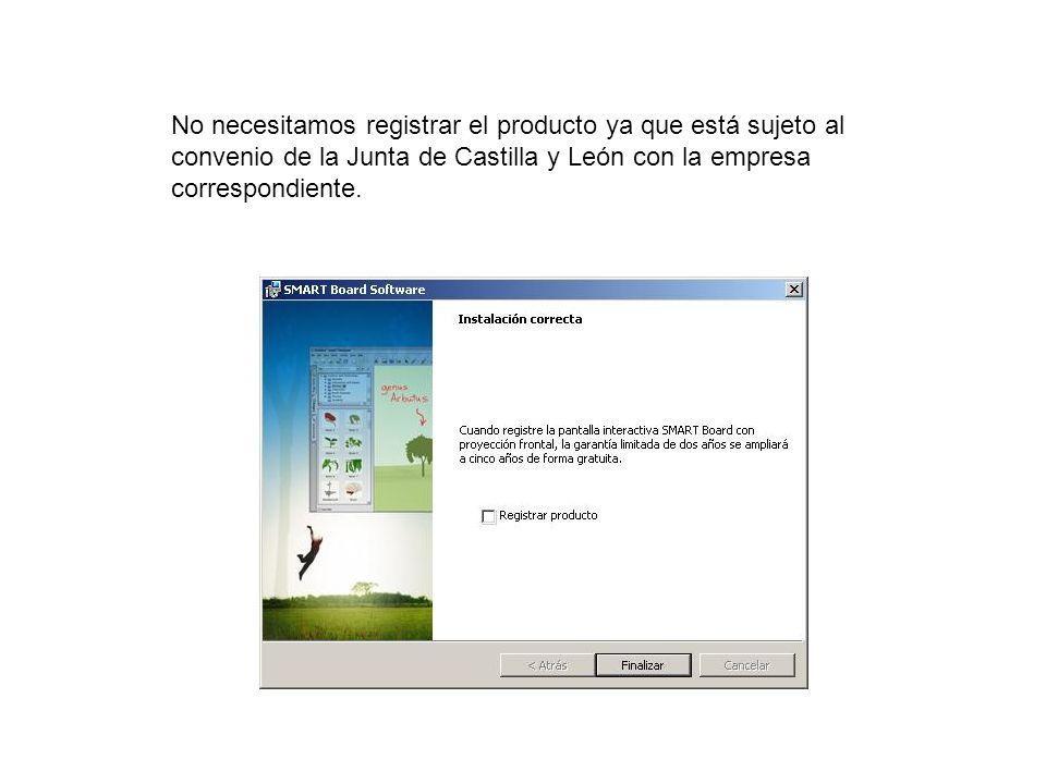No necesitamos registrar el producto ya que está sujeto al convenio de la Junta de Castilla y León con la empresa correspondiente.