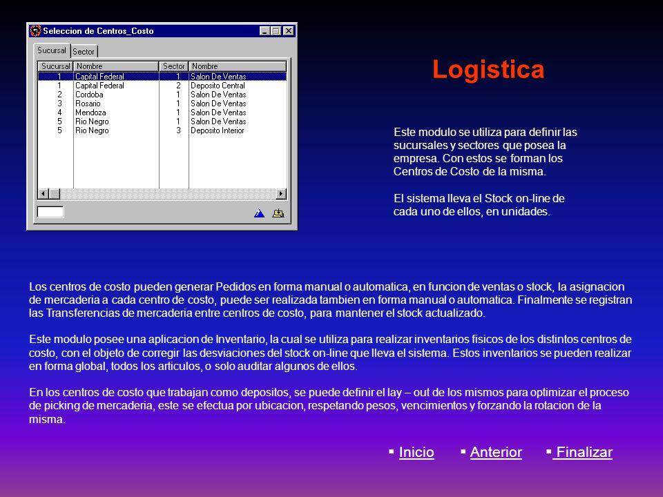 Logistica Los centros de costo pueden generar Pedidos en forma manual o automatica, en funcion de ventas o stock, la asignacion de mercaderia a cada c