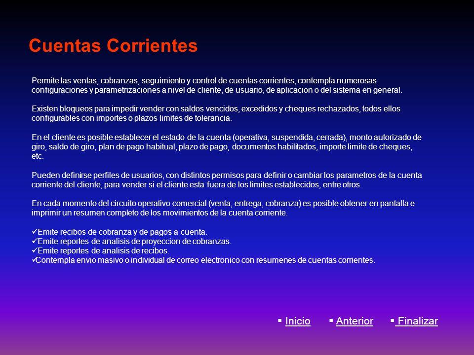 Cuentas Corrientes Inicio Anterior Finalizar Permite las ventas, cobranzas, seguimiento y control de cuentas corrientes, contempla numerosas configura