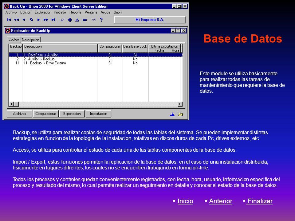 Base de Datos Backup, se utiliza para realizar copias de seguridad de todas las tablas del sistema. Se pueden implementar distintas estrategias en fun