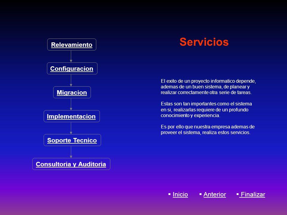 Servicios El exito de un proyecto informatico depende, ademas de un buen sistema, de planear y realizar correctamente otra serie de tareas. Estas son