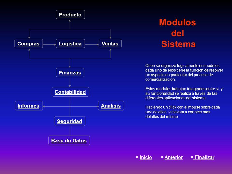 Modulos del Sistema Orion se organiza logicamente en modulos, cada uno de ellos tiene la funcion de resolver un aspecto en particular del proceso de c