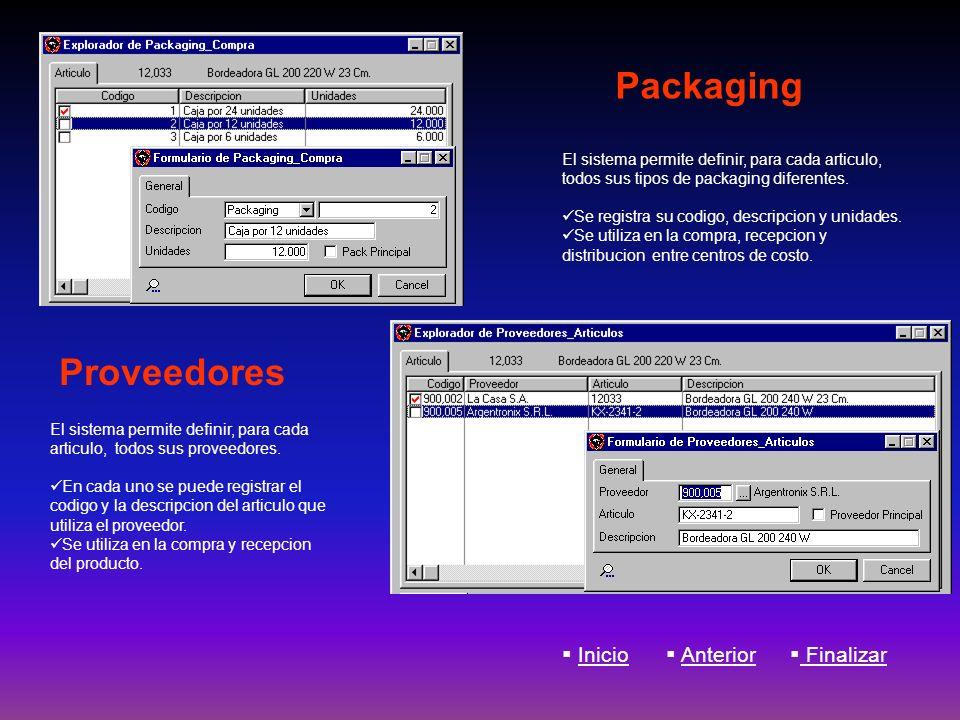 Packaging El sistema permite definir, para cada articulo, todos sus tipos de packaging diferentes. Se registra su codigo, descripcion y unidades. Se u