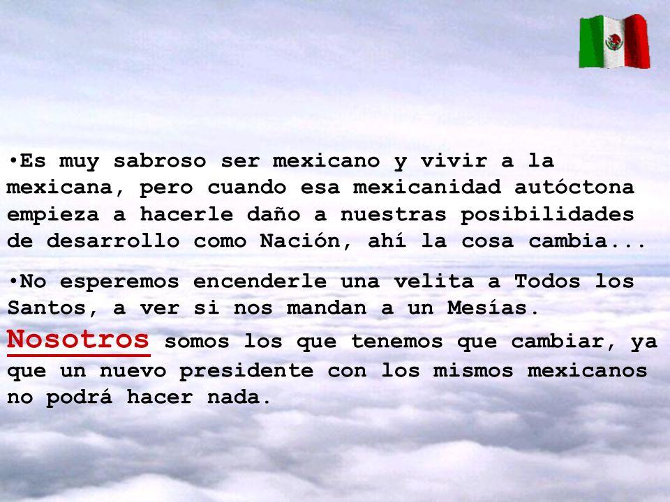 Es muy sabroso ser mexicano y vivir a la mexicana, pero cuando esa mexicanidad autóctona empieza a hacerle daño a nuestras posibilidades de desarrollo
