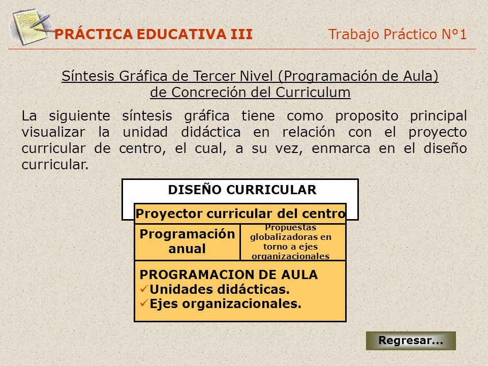 PRÁCTICA EDUCATIVA III Trabajo Práctico N°1 DISEÑO CURRICULAR Proyector curricular del centro Programación anual Propuestas globalizadoras en torno a