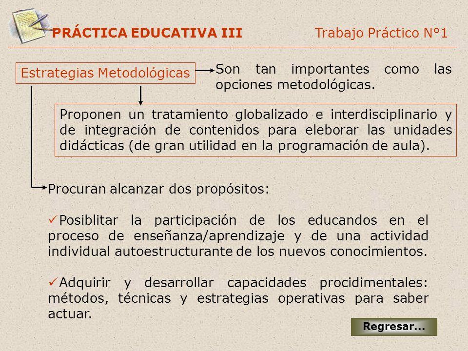 PRÁCTICA EDUCATIVA III Trabajo Práctico N°1 Estrategias Metodológicas Son tan importantes como las opciones metodológicas. Proponen un tratamiento glo