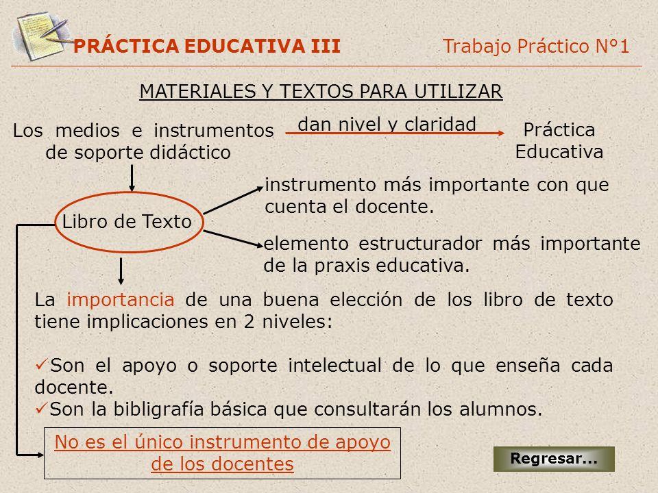 PRÁCTICA EDUCATIVA III Trabajo Práctico N°1 MATERIALES Y TEXTOS PARA UTILIZAR Regresar... Los medios e instrumentos de soporte didáctico dan nivel y c