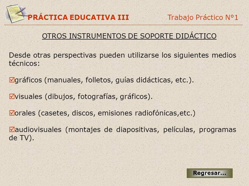 PRÁCTICA EDUCATIVA III Trabajo Práctico N°1 OTROS INSTRUMENTOS DE SOPORTE DIDÁCTICO Desde otras perspectivas pueden utilizarse los siguientes medios t