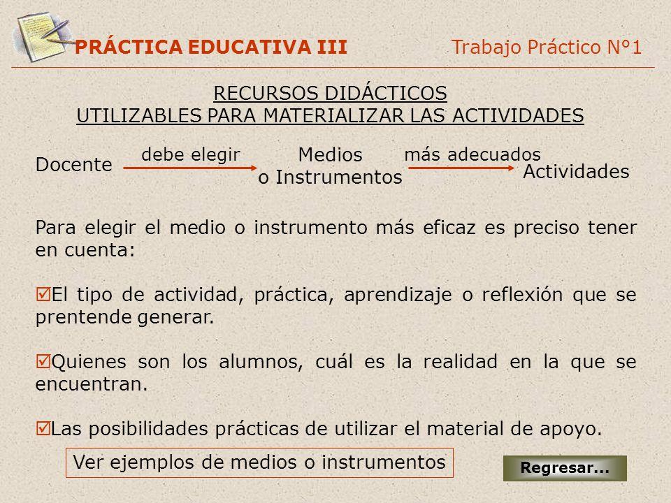 PRÁCTICA EDUCATIVA III Trabajo Práctico N°1 RECURSOS DIDÁCTICOS UTILIZABLES PARA MATERIALIZAR LAS ACTIVIDADES Regresar... Docente Medios o Instrumento