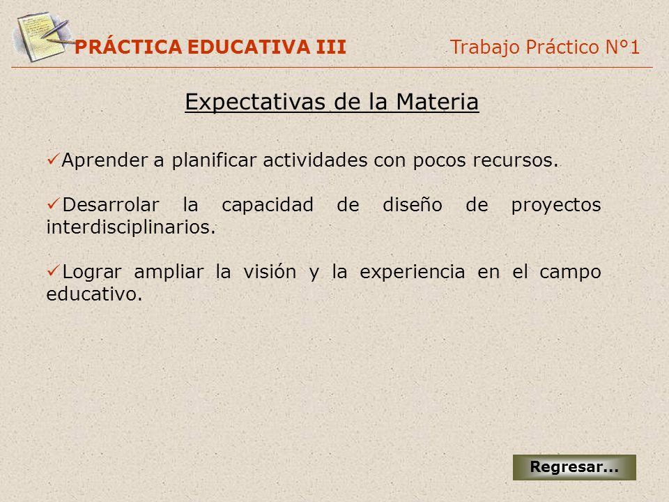 Expectativas de la Materia PRÁCTICA EDUCATIVA III Trabajo Práctico N°1 Regresar... Aprender a planificar actividades con pocos recursos. Desarrolar la
