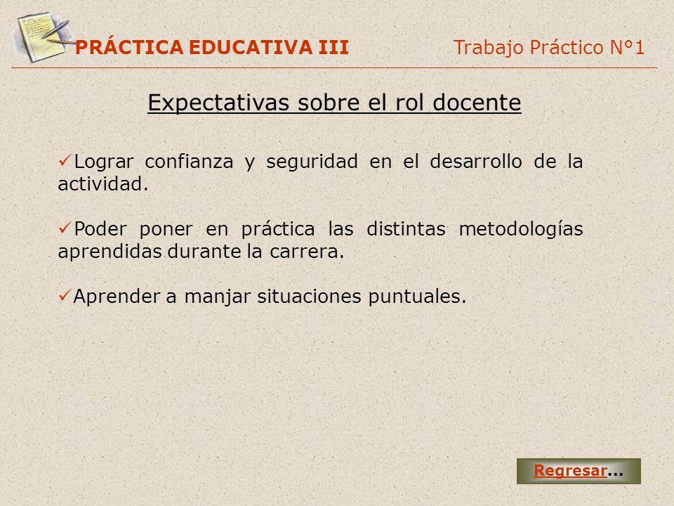 PRÁCTICA EDUCATIVA III Trabajo Práctico N°1 Expectativas sobre el rol docente Regresar... Lograr confianza y seguridad en el desarrollo de la activida