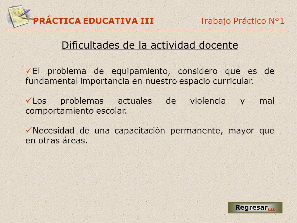 PRÁCTICA EDUCATIVA III Trabajo Práctico N°1 Dificultades de la actividad docente Regresar... El problema de equipamiento, considero que es de fundamen