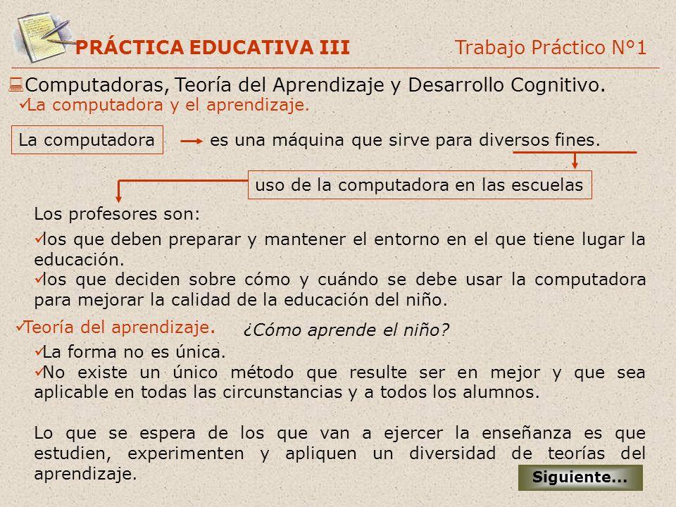 PRÁCTICA EDUCATIVA III Trabajo Práctico N°1 Computadoras, Teoría del Aprendizaje y Desarrollo Cognitivo. Siguiente... La computadora y el aprendizaje.
