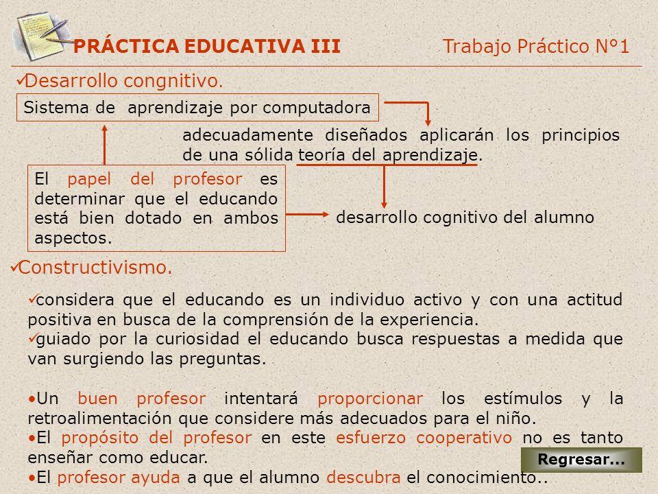 PRÁCTICA EDUCATIVA III Trabajo Práctico N°1 Regresar... Desarrollo congnitivo. desarrollo cognitivo del alumno El papel del profesor es determinar que