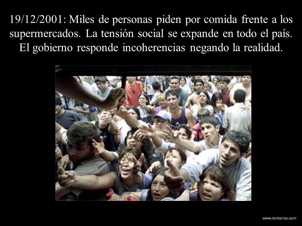 www.tonterias.com 19/12/2001: Miles de personas piden por comida frente a los supermercados. La tensión social se expande en todo el país. El gobierno