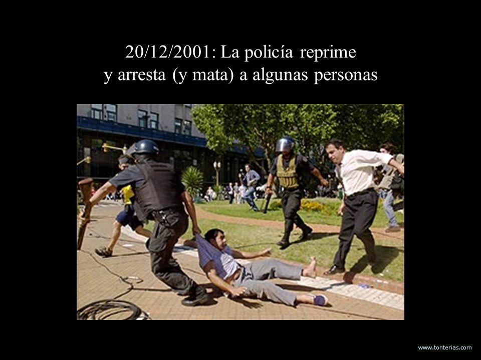 www.tonterias.com 20/12/2001: La policía reprime y arresta (y mata) a algunas personas