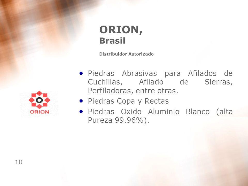 10 ORION, Brasil Distribuidor Autorizado Piedras Abrasivas para Afilados de Cuchillas, Afilado de Sierras, Perfiladoras, entre otras. Piedras Copa y R