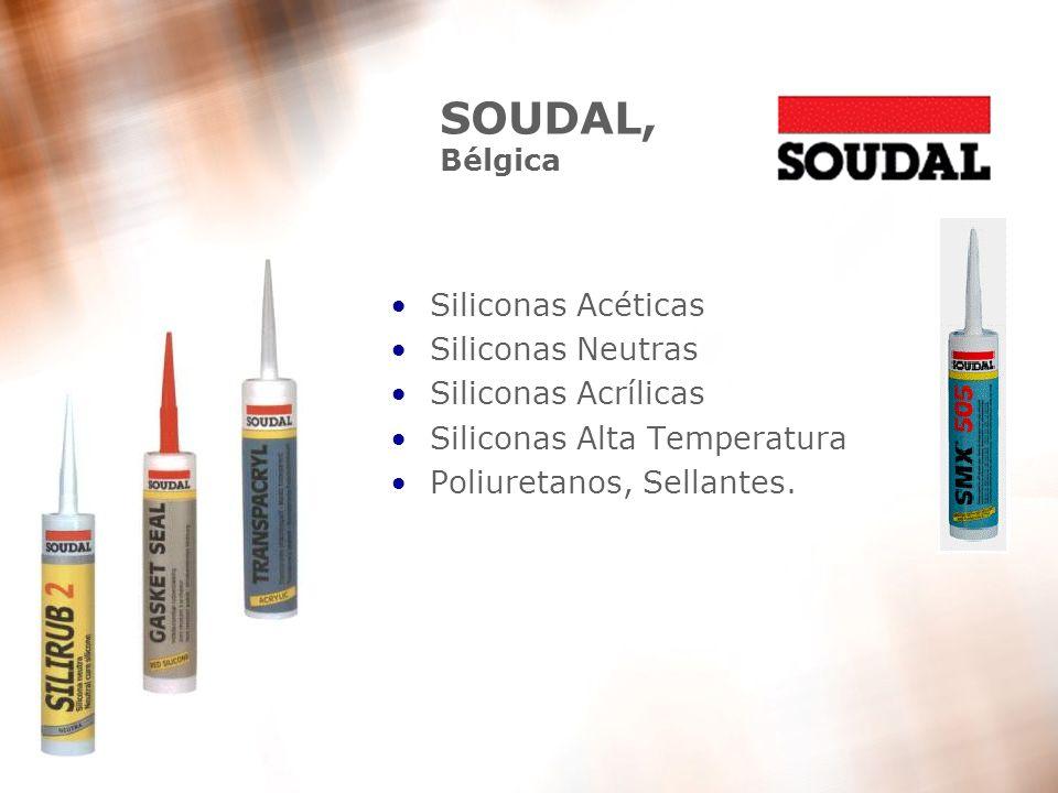 12 SOUDAL, Bélgica Siliconas Acéticas Siliconas Neutras Siliconas Acrílicas Siliconas Alta Temperatura Poliuretanos, Sellantes.