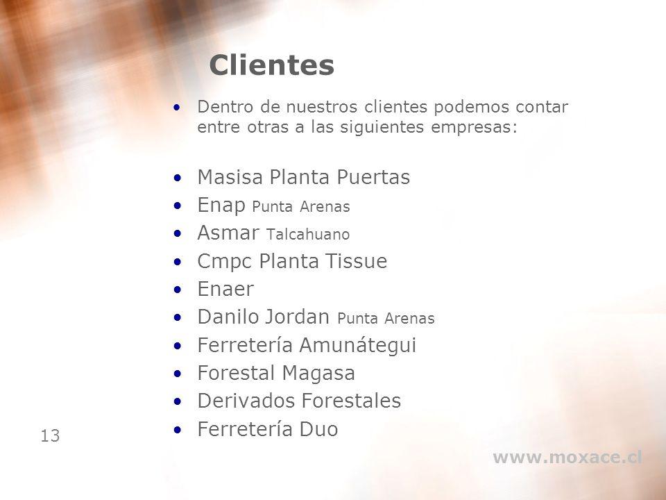 13 Clientes Dentro de nuestros clientes podemos contar entre otras a las siguientes empresas: Masisa Planta Puertas Enap Punta Arenas Asmar Talcahuano