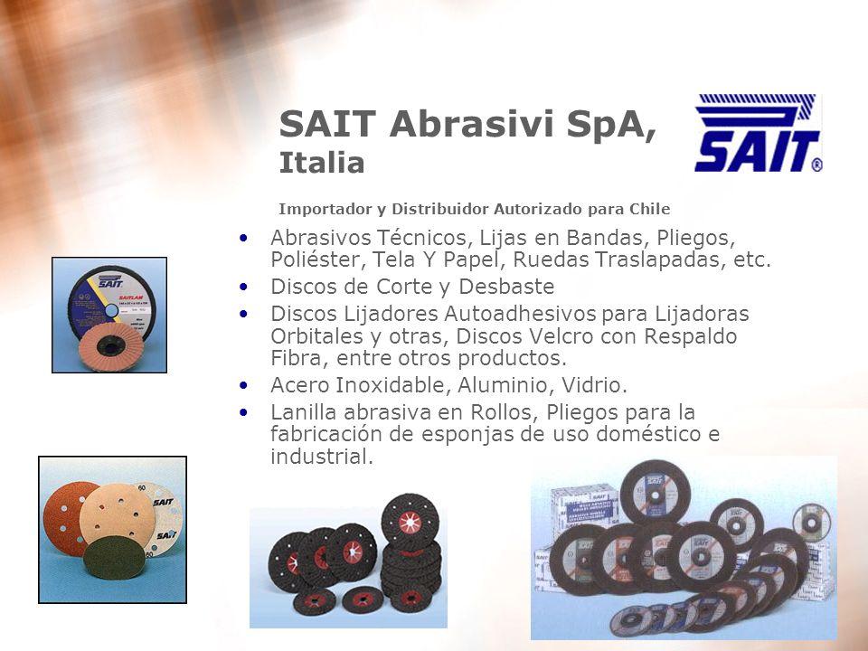 5 SAIT Abrasivi SpA, Italia Importador y Distribuidor Autorizado para Chile Abrasivos Técnicos, Lijas en Bandas, Pliegos, Poliéster, Tela Y Papel, Rue