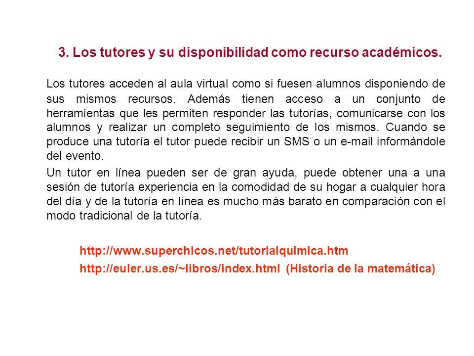 3. Los tutores y su disponibilidad como recurso académicos.