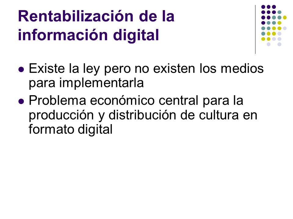 Rentabilización de la información digital Existe la ley pero no existen los medios para implementarla Problema económico central para la producción y