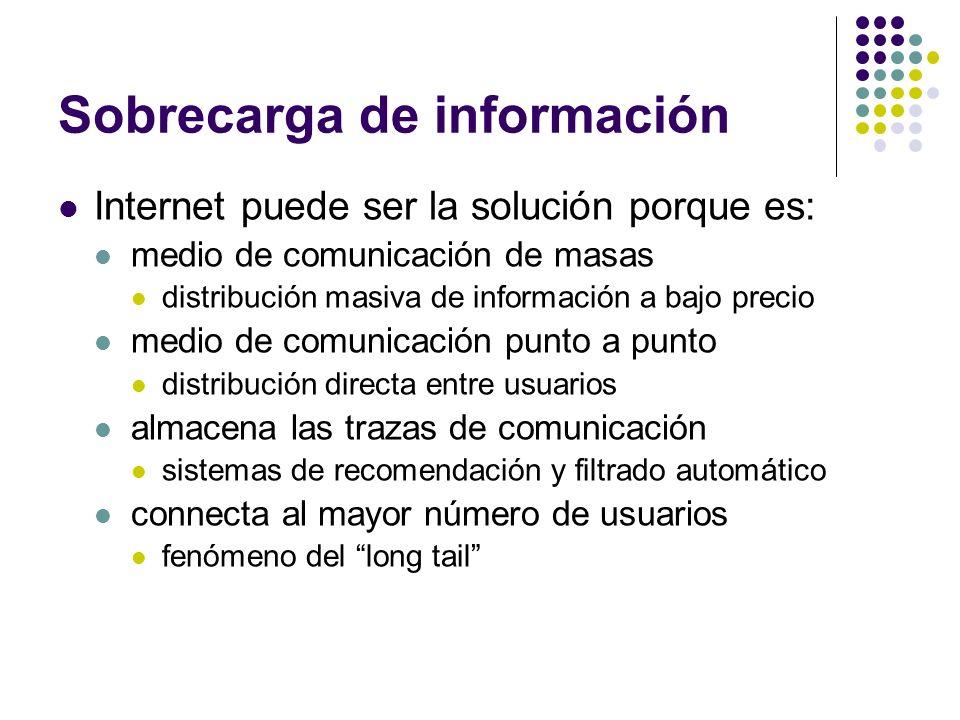 Sobrecarga de información Internet puede ser la solución porque es: medio de comunicación de masas distribución masiva de información a bajo precio me
