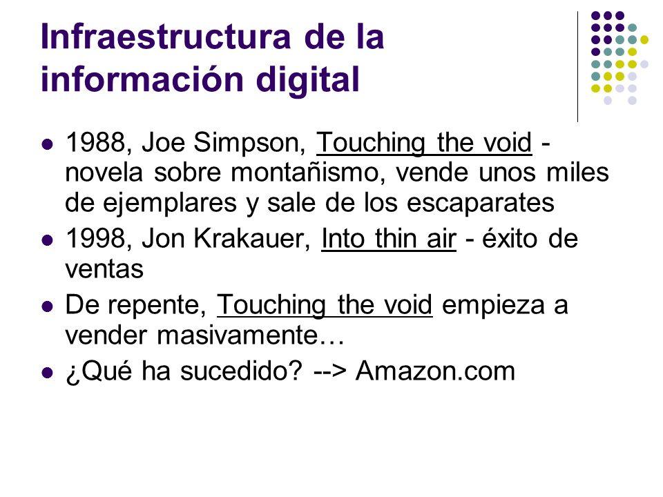 Infraestructura de la información digital 1988, Joe Simpson, Touching the void - novela sobre montañismo, vende unos miles de ejemplares y sale de los