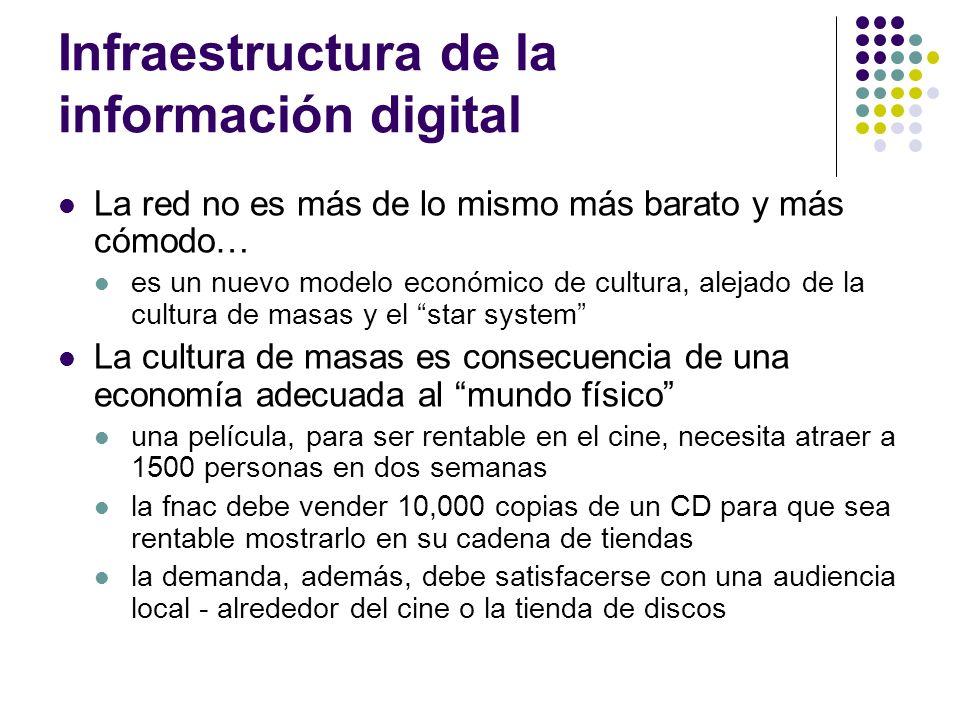 Infraestructura de la información digital La red no es más de lo mismo más barato y más cómodo… es un nuevo modelo económico de cultura, alejado de la