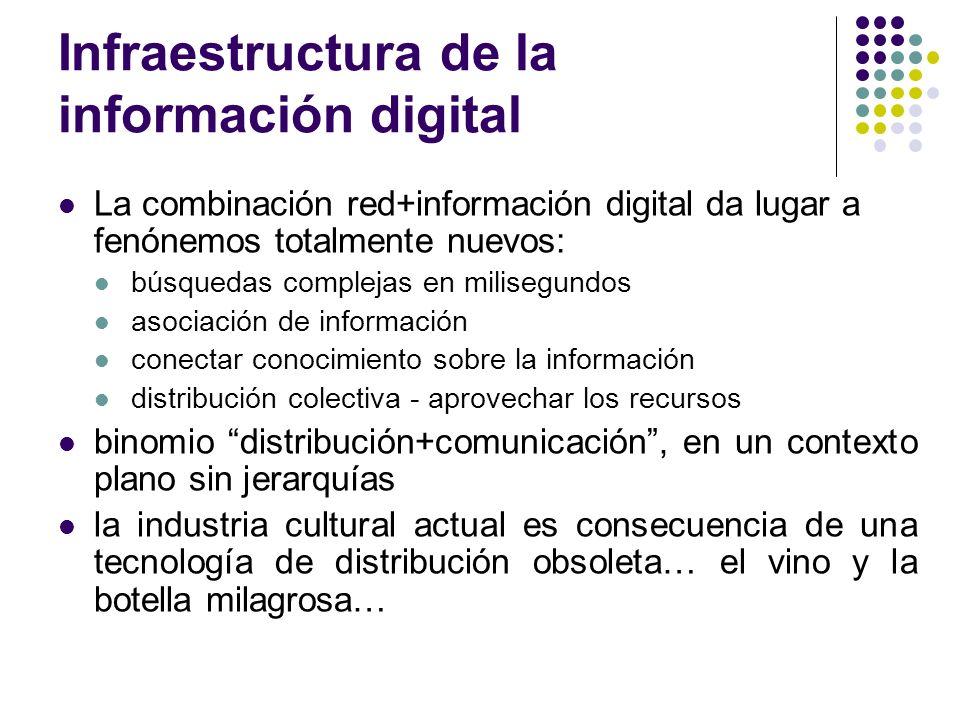 Infraestructura de la información digital La combinación red+información digital da lugar a fenónemos totalmente nuevos: búsquedas complejas en milise