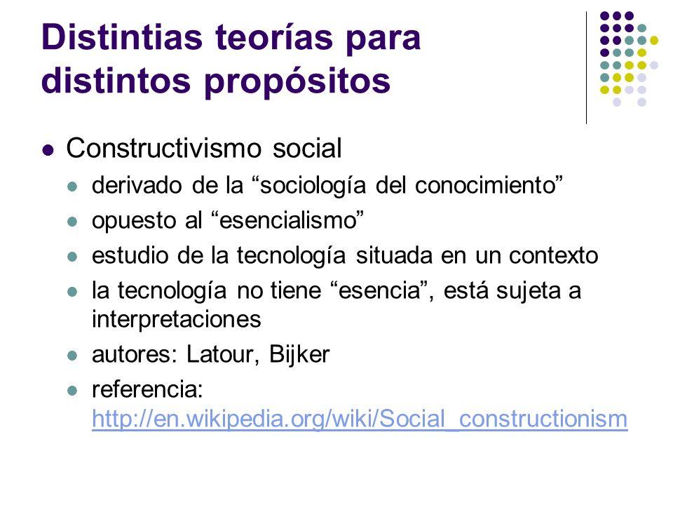 Distintias teorías para distintos propósitos Constructivismo social derivado de la sociología del conocimiento opuesto al esencialismo estudio de la t