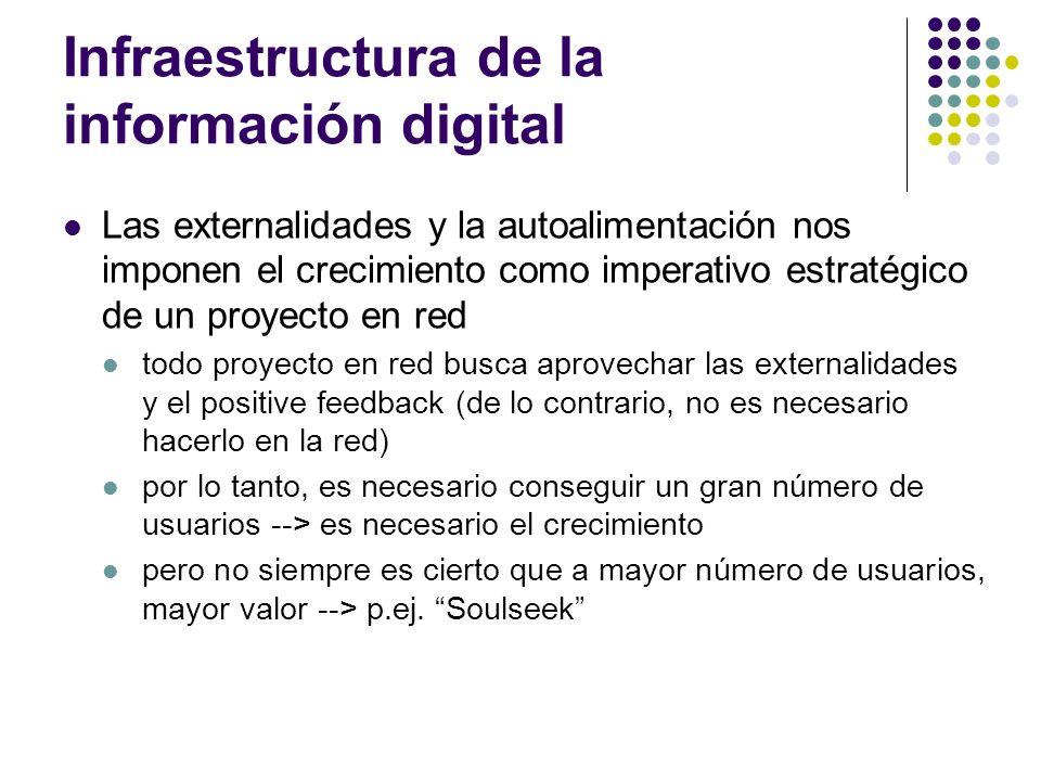 Infraestructura de la información digital Las externalidades y la autoalimentación nos imponen el crecimiento como imperativo estratégico de un proyec