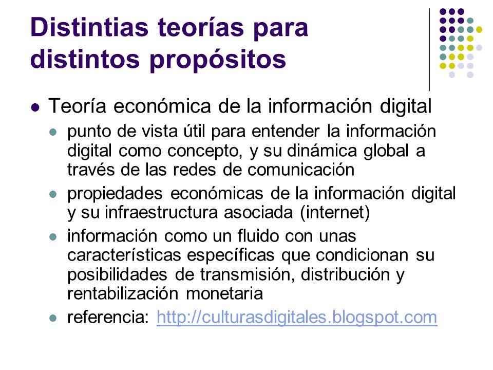 Distintias teorías para distintos propósitos Teoría económica de la información digital punto de vista útil para entender la información digital como