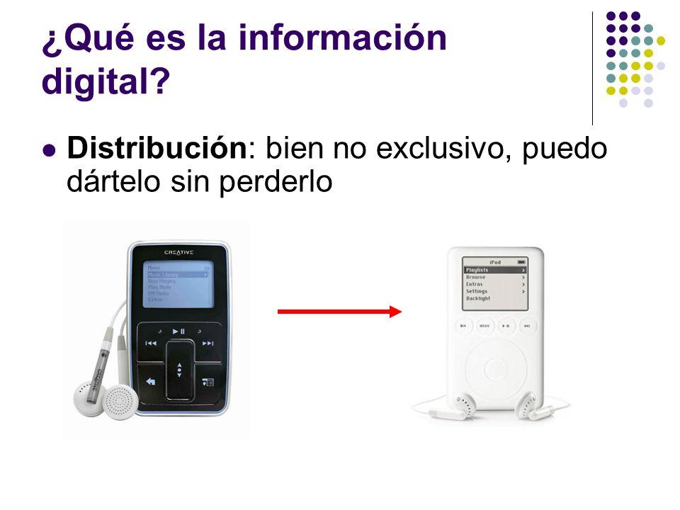 ¿Qué es la información digital? Distribución: bien no exclusivo, puedo dártelo sin perderlo