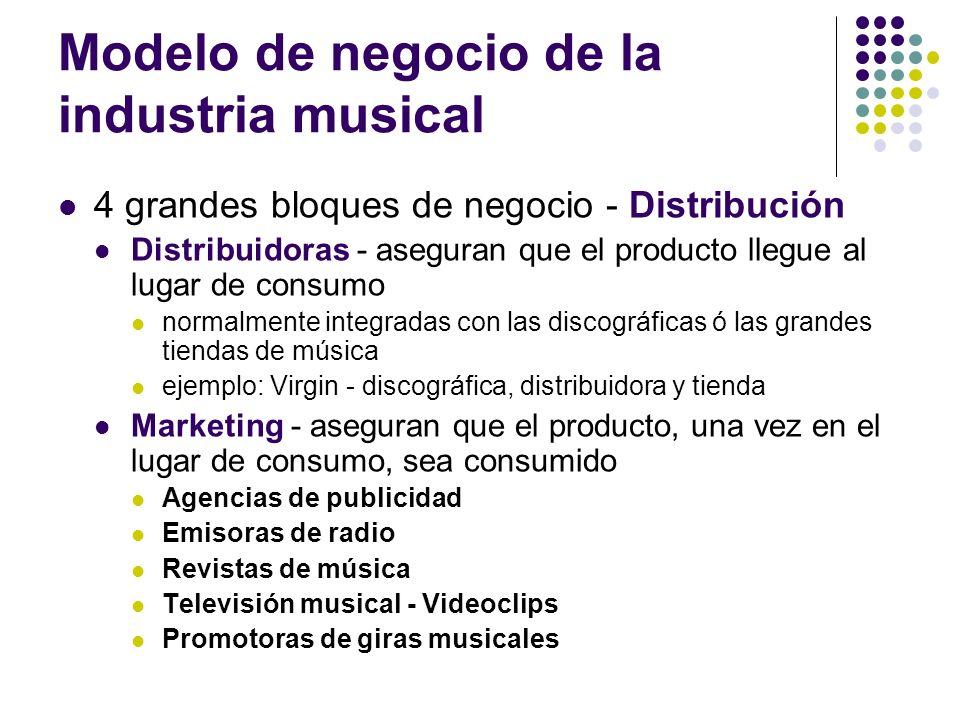 Modelo de negocio de la industria musical 4 grandes bloques de negocio - Distribución Distribuidoras - aseguran que el producto llegue al lugar de con