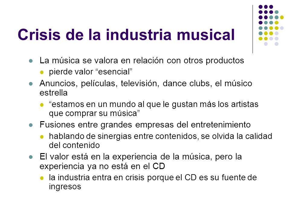 Crisis de la industria musical La música se valora en relación con otros productos pierde valor esencial Anuncios, películas, televisión, dance clubs,