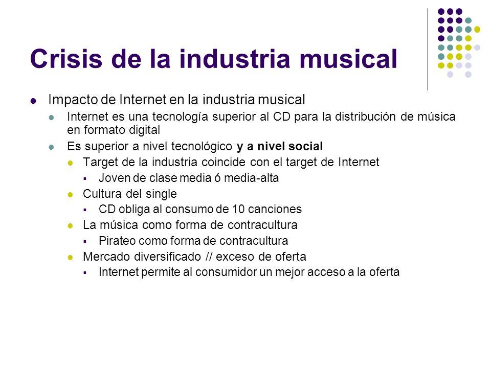 Crisis de la industria musical Impacto de Internet en la industria musical Internet es una tecnología superior al CD para la distribución de música en
