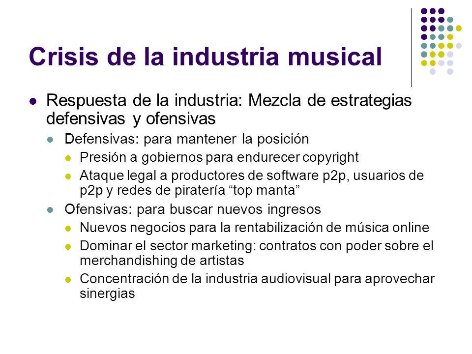 Crisis de la industria musical Respuesta de la industria: Mezcla de estrategias defensivas y ofensivas Defensivas: para mantener la posición Presión a