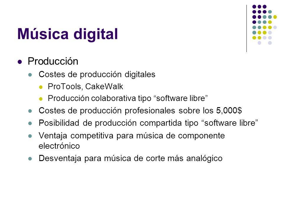 Música digital Producción Costes de producción digitales ProTools, CakeWalk Producción colaborativa tipo software libre Costes de producción profesion
