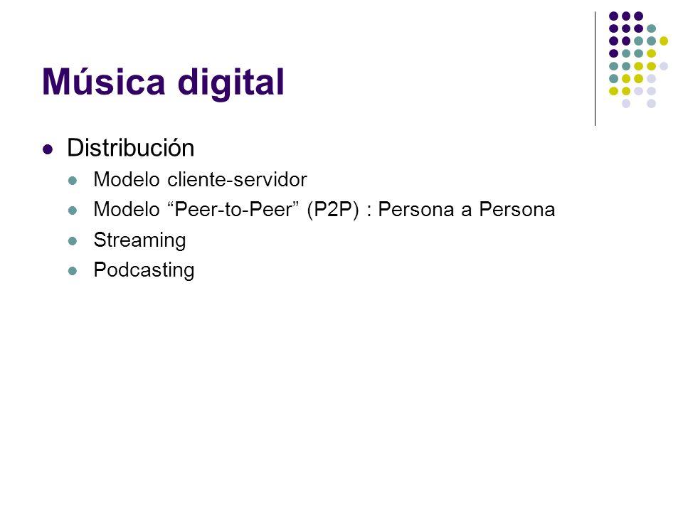 Música digital Distribución Modelo cliente-servidor Modelo Peer-to-Peer (P2P) : Persona a Persona Streaming Podcasting