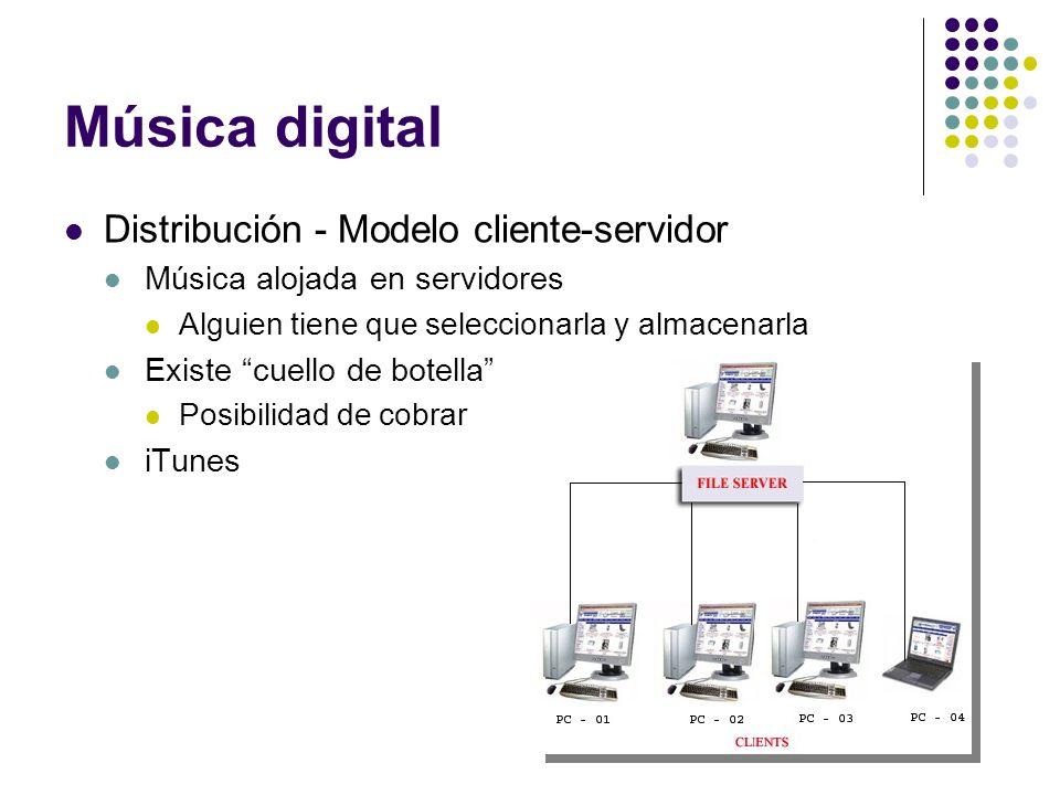 Música digital Distribución - Modelo cliente-servidor Música alojada en servidores Alguien tiene que seleccionarla y almacenarla Existe cuello de bote