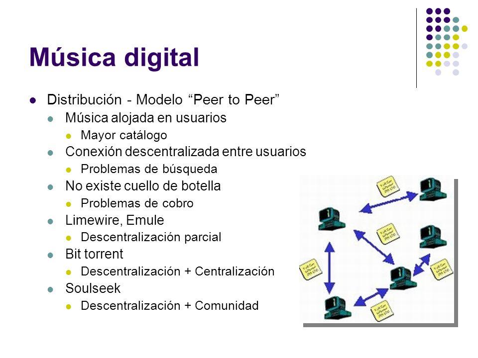Música digital Distribución - Modelo Peer to Peer Música alojada en usuarios Mayor catálogo Conexión descentralizada entre usuarios Problemas de búsqu