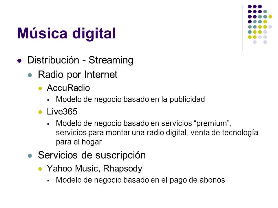 Música digital Distribución - Streaming Radio por Internet AccuRadio Modelo de negocio basado en la publicidad Live365 Modelo de negocio basado en ser