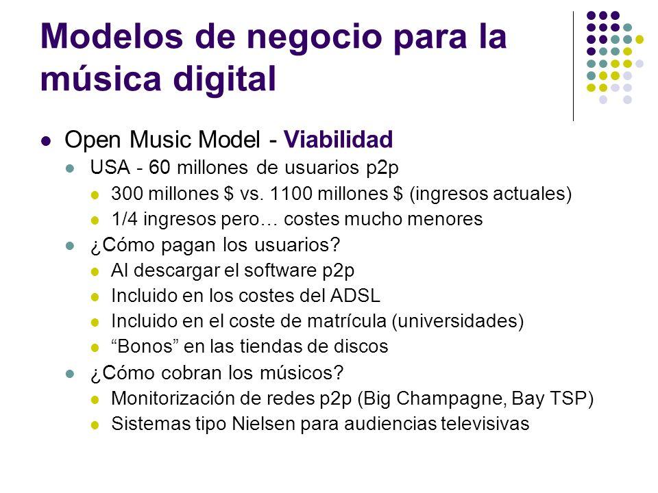 Modelos de negocio para la música digital Open Music Model - Viabilidad USA - 60 millones de usuarios p2p 300 millones $ vs. 1100 millones $ (ingresos
