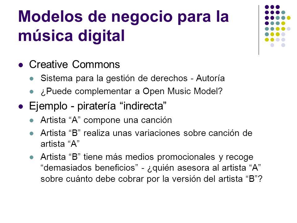 Modelos de negocio para la música digital Creative Commons Sistema para la gestión de derechos - Autoría ¿Puede complementar a Open Music Model? Ejemp