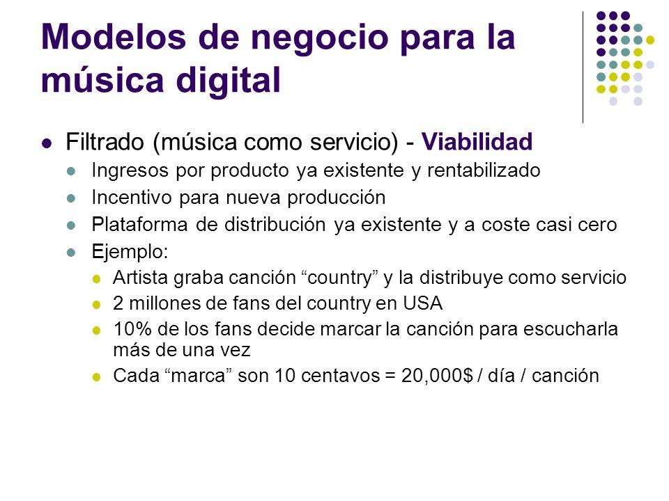 Modelos de negocio para la música digital Filtrado (música como servicio) - Viabilidad Ingresos por producto ya existente y rentabilizado Incentivo pa