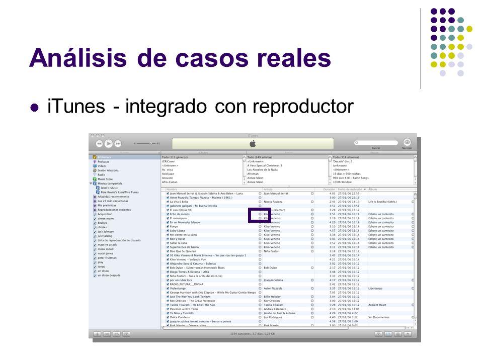 Análisis de casos reales iTunes - integrado con reproductor