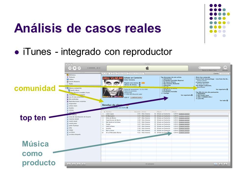 Análisis de casos reales iTunes - integrado con reproductor comunidad top ten Música como producto